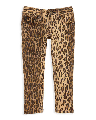 Ocelot-Print Skinny Jeans, Sizes 4-6X