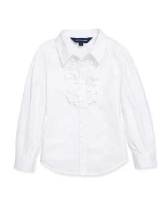 Ruffled Broadcloth Shirt, White, Sizes 4-6X