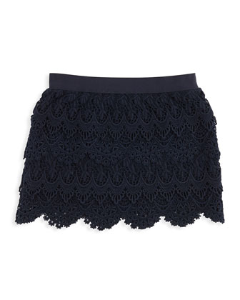 Tiered Lace Skirt, Aviator Navy, 4-6X