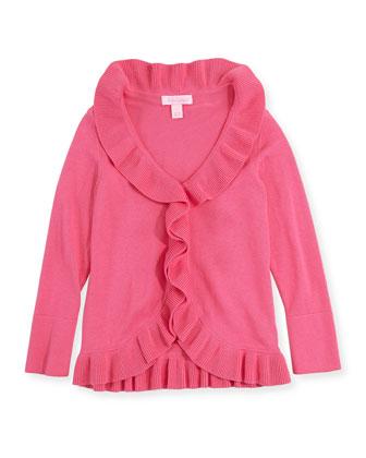 Keirnan Long-Sleeve Ruffle Cardigan, Pink, XS-XL