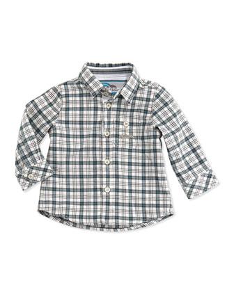 Plaid Button-Down Shirt, Blue, Sizes 3-4
