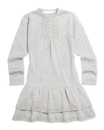 Knit Drop-Waist Dress, Gray, Sizes 2-6