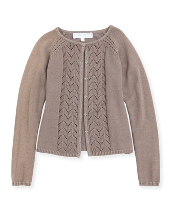 Pointelle-Knit Cardigan, Taupe, Sizes 8-12