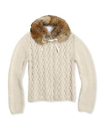 Detachable Fur-Collar Cardigan, Girls' Sizes 8-12