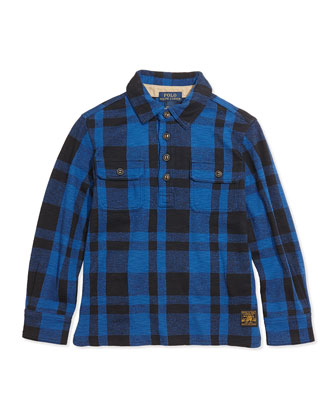 Plaid-Fleece Pullover Shirt, Heritage Blue, Sizes 4-7