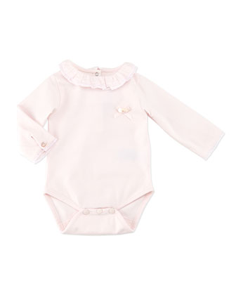 Ruffle-Collar Long-Sleeve Bodysuit, Pink, 3M-2Y