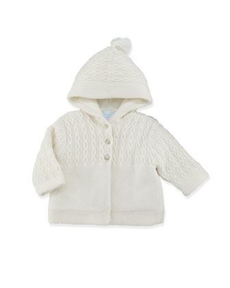Cable-Knit Hooded Jacket, Pearl, 3-6 Months