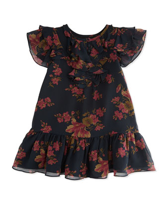 Floral-Print Chiffon Drop-Waist Dress, Sizes 4-6X