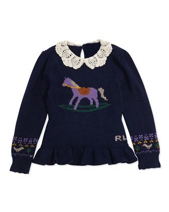 Intarsia-Knit Horse Peplum Sweater, Sizes 4-6X