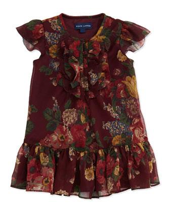 Crinkle-Chiffon Floral-Print Dress