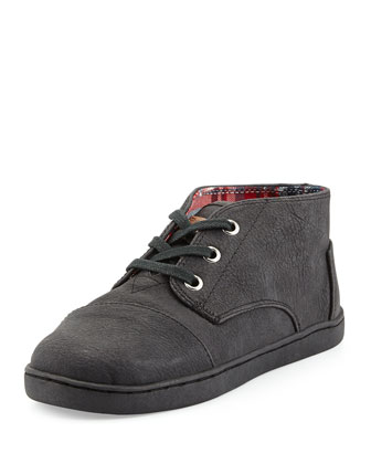 Padeo Faux-Leather High-Top Sneaker, Black, Youth
