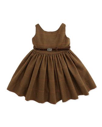 Sleeveless Fit-And-Flare Tweed Dress, Brown Multi, 9-24 Months