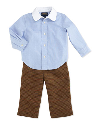 Houndstooth Tweed Pants Set, Racer Blue, 9-24 Months
