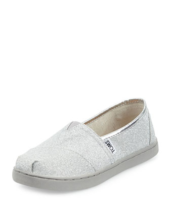 Classic Slip-On Glimmer Shoe, Silver, Youth