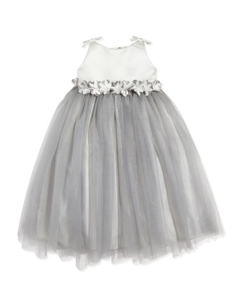 Floral-Waist Satin & Tulle Dress, Diamond White/Platinum, Sizes 2-6