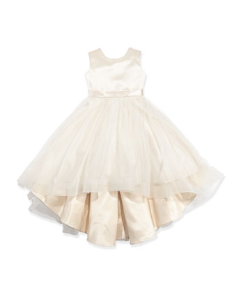 Satin & Tulle High-Low Dress, Gardenia/Ivory,