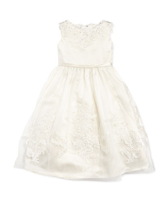 Tulle and Lace Tea-Length Dress, Ivory, Sizes 2-14
