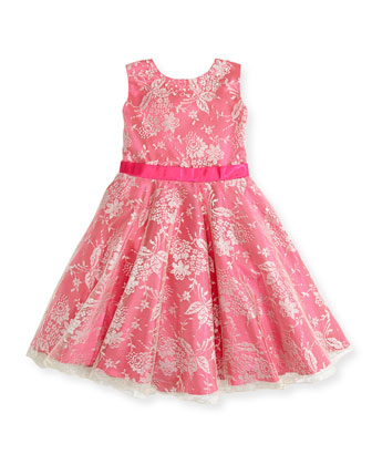 Sleeveless Charmeuse & Metallic Lace Dress, Hot Pink, Sizes 2-14