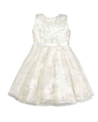 Sleeveless Charmeuse & Metallic Lace Dress, Silver/Ivory, Sizes 2-14