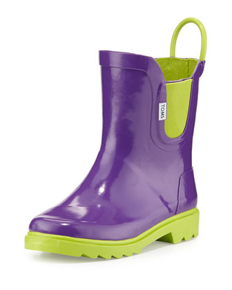 Rubber Rain Boot, Purple, Youth