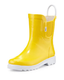Rubber Rain Boot, Yellow, Tiny