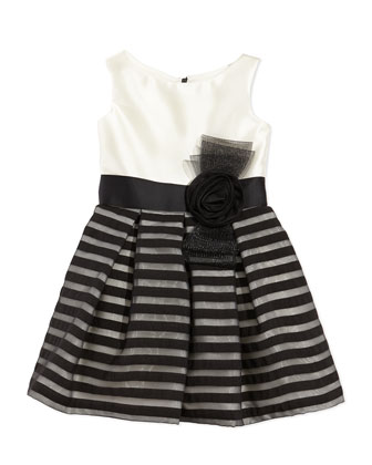Striped-Overlay Party Dress, 2-6X