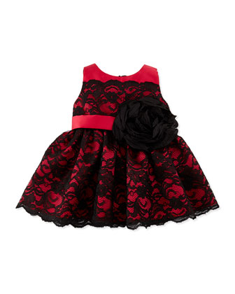 Lace-Overlay Party Dress, Black/Red, 12-24 Months