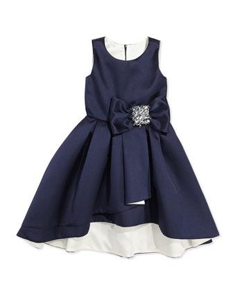High-Low Sleeveless Dress, Navy/Ivory, Sizes 2-6