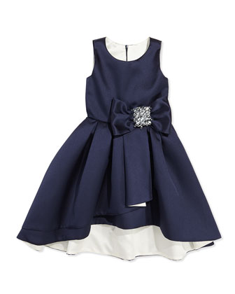 High-Low Sleeveless Dress, Navy/Ivory, Sizes 8-12