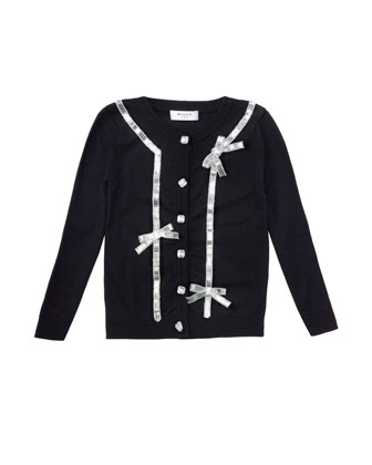 Sequin-Bow Knit Cardigan, Black, Sizes 2-7