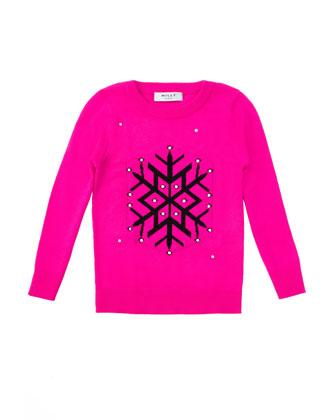 Snowflake Intarsia-Knit Sweater, Fuchsia/Black, Sizes 2-7