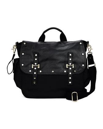 Logan Leather & Nylon Diaper Bag, Black
