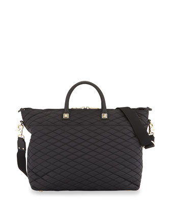 Diamond Quilted Diaper Tote Bag, Black