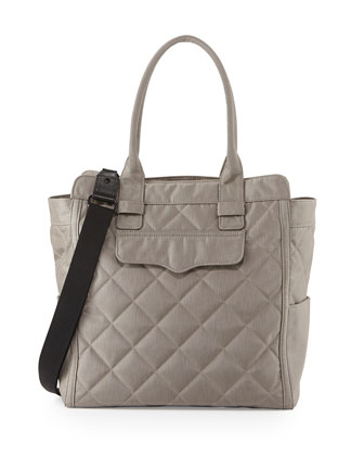 Teddy Tote Nylon Diaper Bag, Stormy Gray