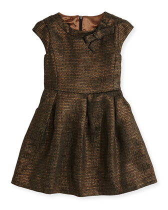 Metallic-Tweed Dress, Black/Copper, 3Y-12Y