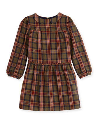 Plaid Poplin Dress, Khaki, 3Y-12Y