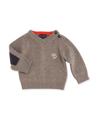 V-Neck Sweater w/Elbow Patches, Boys' 3M-3T