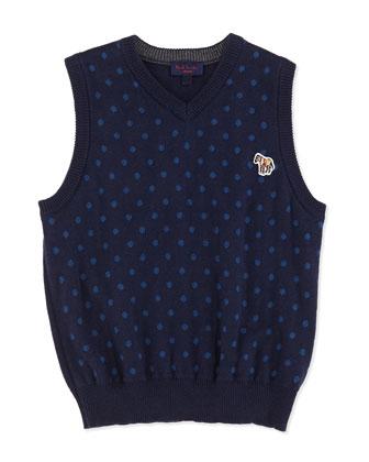 Polka-Dot Sweater Vest, Sizes 8-12