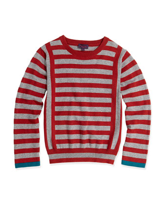 Striped Round-Neck Sweater, Sizes 8-12