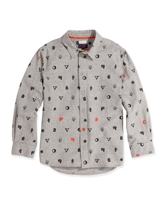 Graphic-Print Button-Down Shirt, Sizes 2T-6T