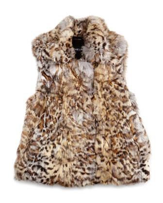 Leopard-Print Fur Vest, Girls' Sizes 2-12