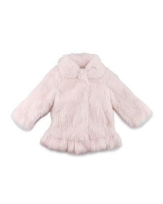 Ruffled-Hem Fur Coat, Pink, Sizes 2-12