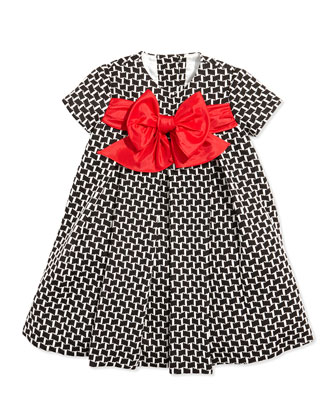 Printed Empire Dress with Bow, Sizes 2T-4T