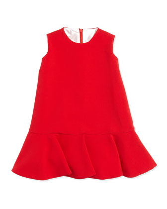 Crepe Flounce Dress, Sizes 7-12