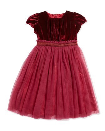 Velvet and Tulle Party Dress, Burgundy, Sizes 3-12