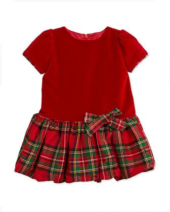 Velvet & Tartan Plaid Drop-Waist Dress, Sizes 3-12