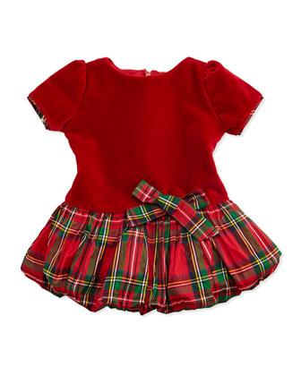 Velvet & Tartan Plaid Drop-Waist Dress, 3-24 Months