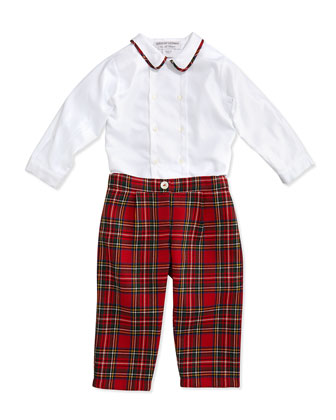 Double-Breasted Button-Down Shirt & Tartan Plaid Pants, 3-24 Months