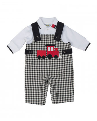 Train Overalls & Long-Sleeve Polo, Black/White, 3-9 Months