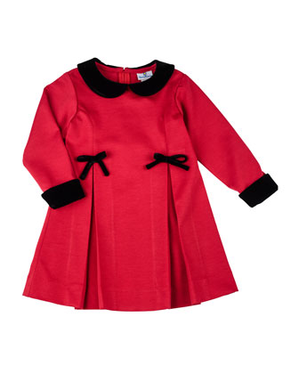 Pleated Ponte Dress with Velvet-Trim, 12-24 Months